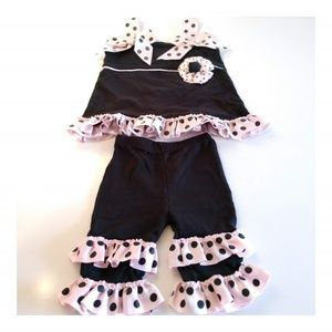 Mud Pie Baby Girls Floral Polka Dots 2 Piece Outfi